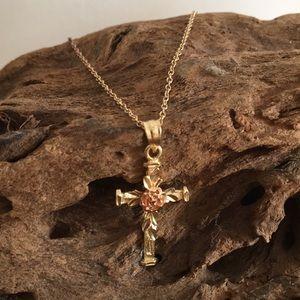14kt Gold Cross + Chain